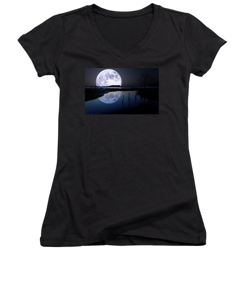 Moon At Night Women's V-Neck (Athletic Fit)