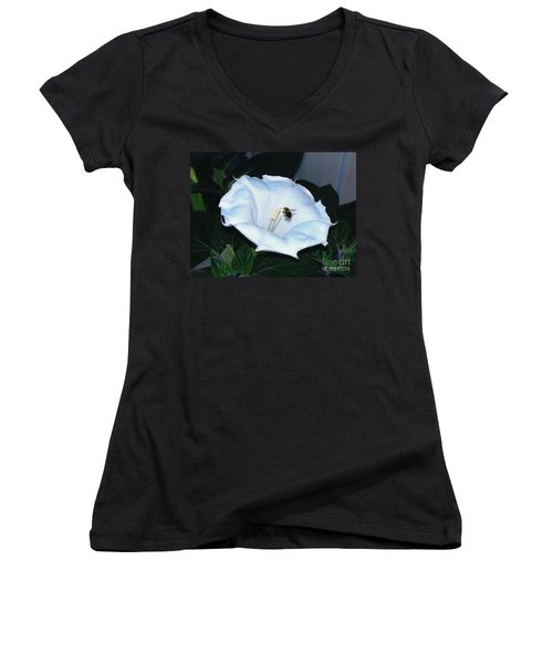 Women's V-Neck T-Shirt (Junior Cut) featuring the photograph Moon Flower by Thomas Woolworth