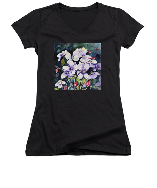 Moon Flowers Women's V-Neck T-Shirt
