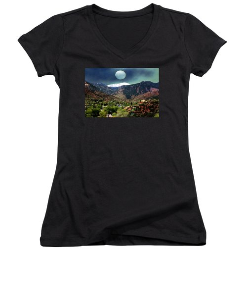 Moon Over Manitou I Women's V-Neck T-Shirt (Junior Cut) by Lanita Williams