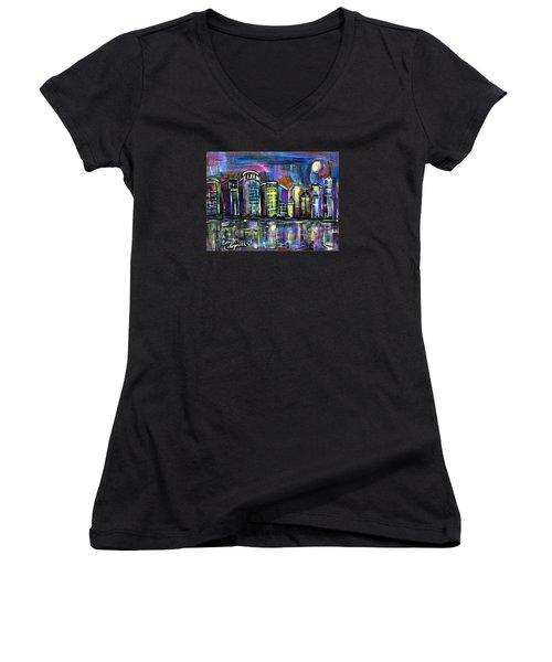 Moon Over Orlando Women's V-Neck T-Shirt (Junior Cut) by Everett Spruill
