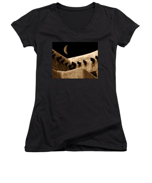 Moon Over Santa Fe Women's V-Neck (Athletic Fit)