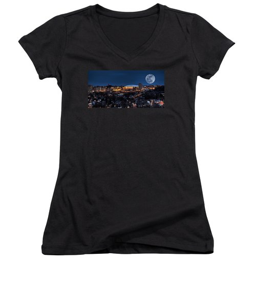Moon Over The Carrier Dome Women's V-Neck T-Shirt (Junior Cut) by Everet Regal