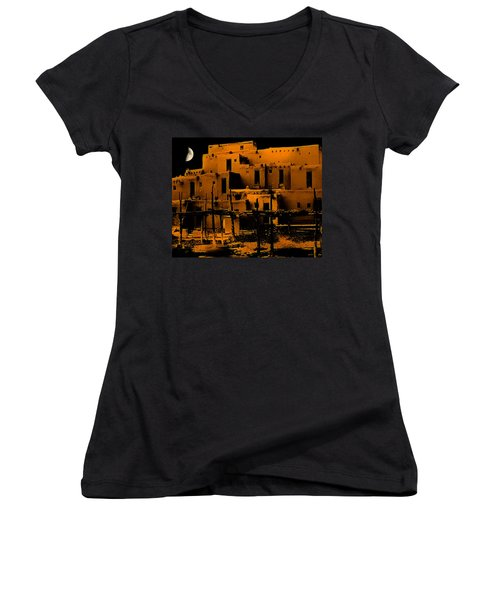 Moon Rise At The Pueblo Women's V-Neck (Athletic Fit)