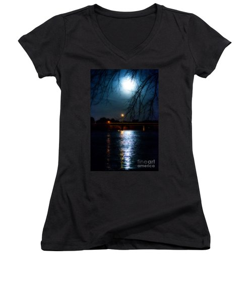 Moon Set Lake Pleasurehouse Women's V-Neck T-Shirt (Junior Cut) by Angela DeFrias