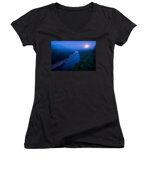 Moon Setting Over The Current River Women's V-Neck (Athletic Fit)