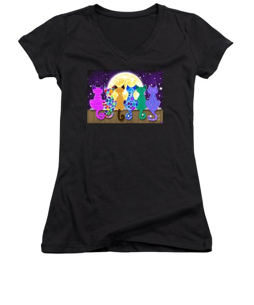 Moon Shadow Meow Women's V-Neck T-Shirt (Junior Cut) by Nick Gustafson