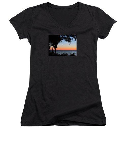 Moon Sliver At Sunset Women's V-Neck T-Shirt (Junior Cut) by David T Wilkinson