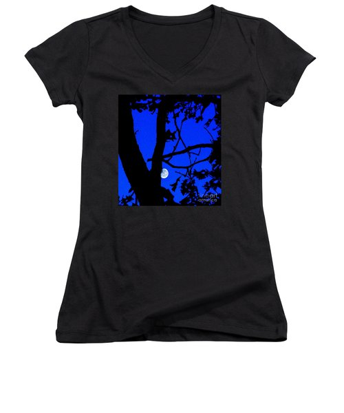 Women's V-Neck T-Shirt (Junior Cut) featuring the photograph Moon Through Trees 2 by Janette Boyd
