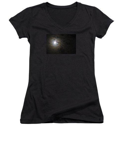 Women's V-Neck T-Shirt (Junior Cut) featuring the photograph Moonlight by Marilyn Wilson