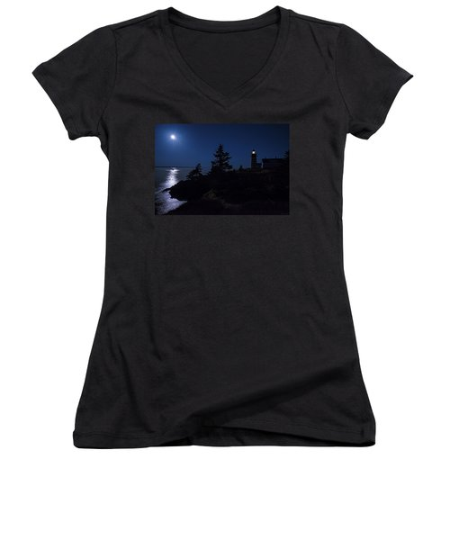 Women's V-Neck T-Shirt (Junior Cut) featuring the photograph Moonlit Panorama West Quoddy Head Lighthouse by Marty Saccone