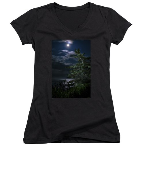 Moonlit Treescape Women's V-Neck (Athletic Fit)