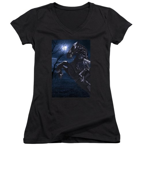 Moonlit Warrior Women's V-Neck T-Shirt (Junior Cut) by Wes and Dotty Weber