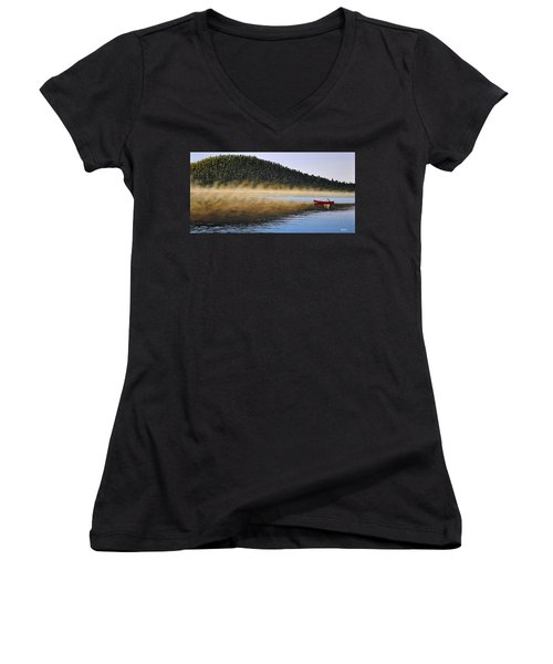 Women's V-Neck T-Shirt (Junior Cut) featuring the painting Moose Lake Paddle by Kenneth M  Kirsch