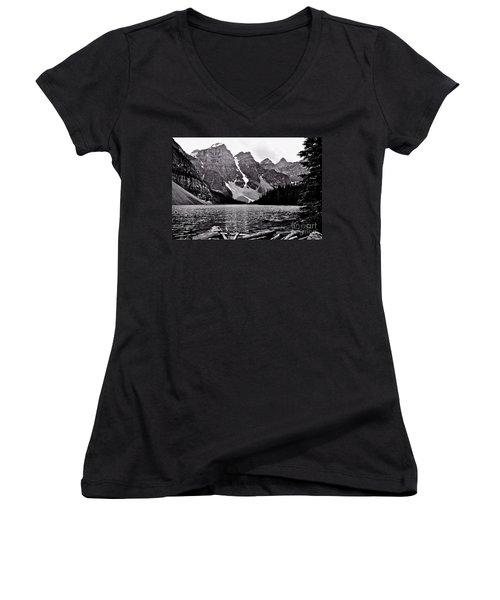 Moraine Lake Women's V-Neck T-Shirt (Junior Cut) by Linda Bianic