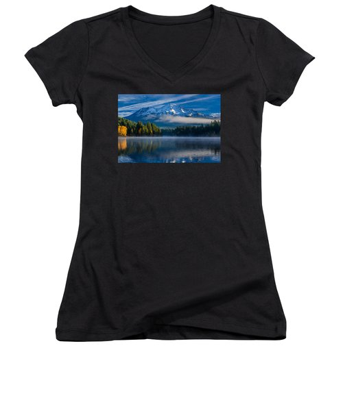 Morning At Siskiyou Lake Women's V-Neck (Athletic Fit)