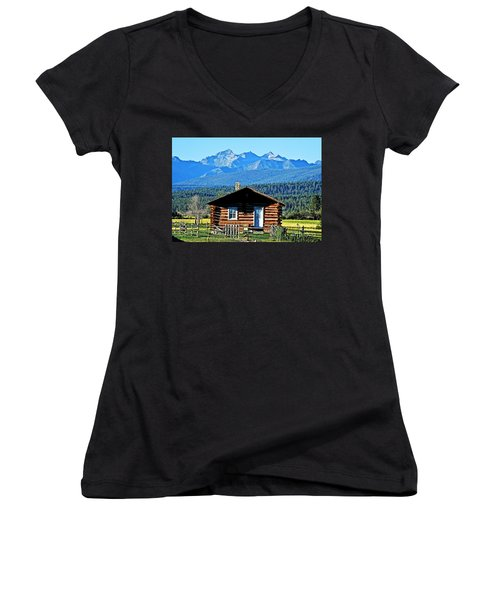 Women's V-Neck T-Shirt (Junior Cut) featuring the photograph Morning At The Getaway by Joseph J Stevens