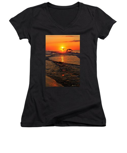 Morning Commute Women's V-Neck T-Shirt (Junior Cut)