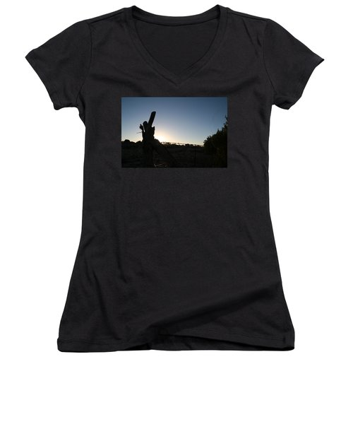 Women's V-Neck T-Shirt (Junior Cut) featuring the pyrography Morning by David S Reynolds