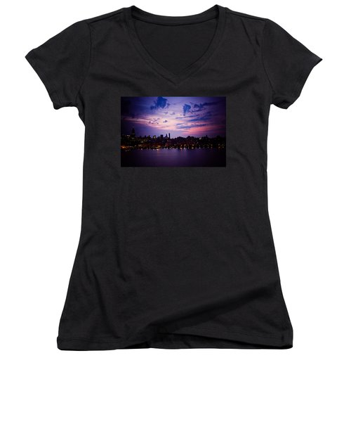 Women's V-Neck T-Shirt (Junior Cut) featuring the photograph Morning Glory by Sara Frank