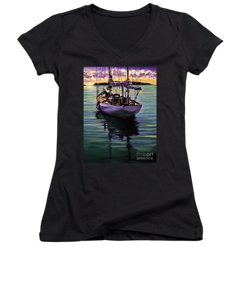Morning Has Broken Women's V-Neck T-Shirt (Junior Cut) by David  Van Hulst