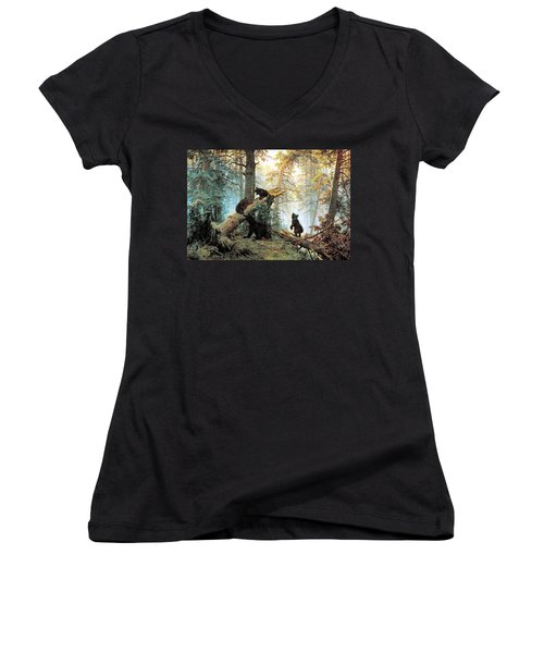 Morning In A Pine Forest Women's V-Neck