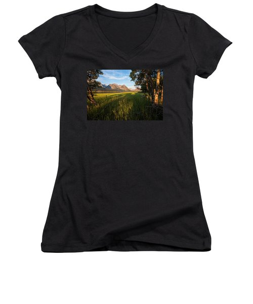 Women's V-Neck T-Shirt (Junior Cut) featuring the photograph Morning In The Mountains by Jack Bell