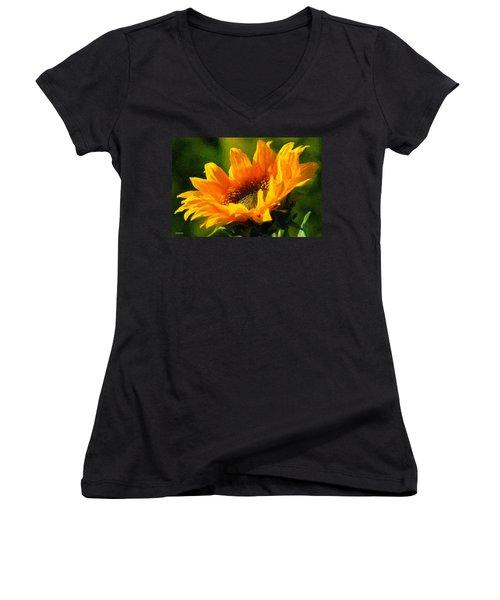 Women's V-Neck T-Shirt (Junior Cut) featuring the digital art Morning Light by Chuck Mountain