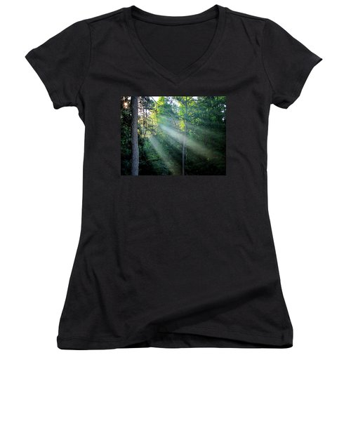 Morning Rays Women's V-Neck T-Shirt (Junior Cut) by Greg Simmons