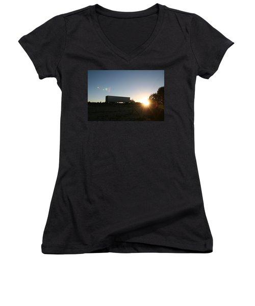 Women's V-Neck T-Shirt (Junior Cut) featuring the photograph Morning Run by David S Reynolds
