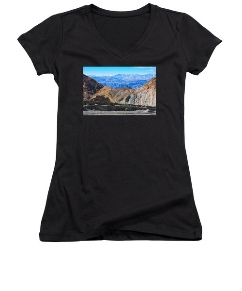 Women's V-Neck T-Shirt (Junior Cut) featuring the photograph Mosaic Canyon Picnic by Stuart Litoff