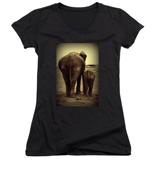 Mother And Baby Elephant In Black And White Women's V-Neck T-Shirt