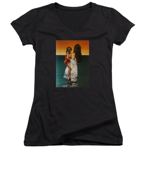 Mother And Daughter II Women's V-Neck T-Shirt (Junior Cut) by Natalia Tejera