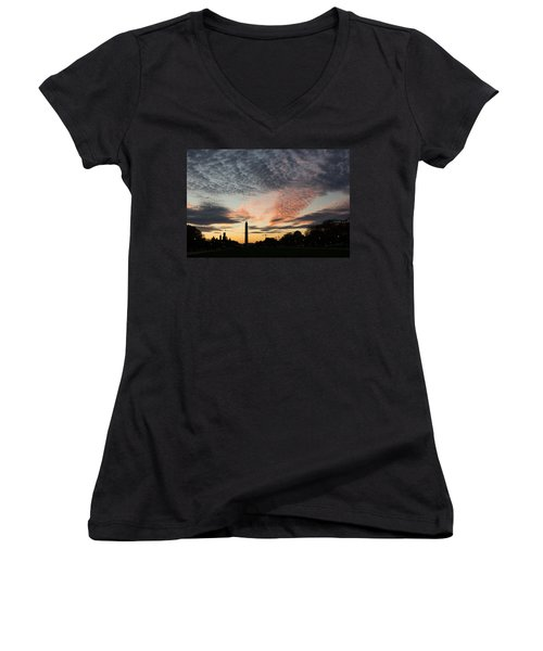 Mother Nature Painted The Sky Over Washington D C Spectacular Women's V-Neck