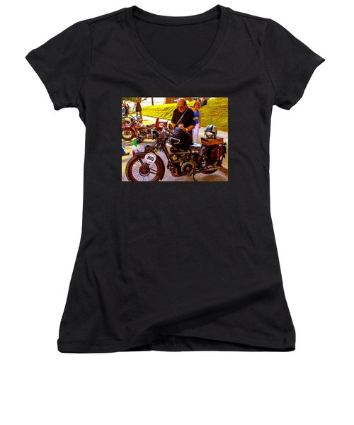 Moto Guzzi At Cannonball Motorcycle Women's V-Neck