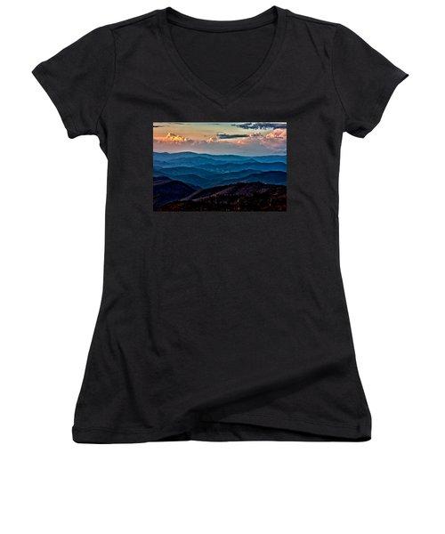 Women's V-Neck T-Shirt (Junior Cut) featuring the photograph Mount Mitchell Sunset by John Haldane