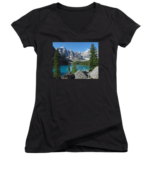 Mountain Magic Women's V-Neck T-Shirt (Junior Cut) by Alan Socolik