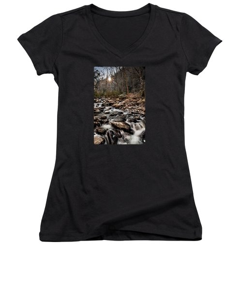 Women's V-Neck T-Shirt (Junior Cut) featuring the photograph Icy Mountain Stream by Debbie Green