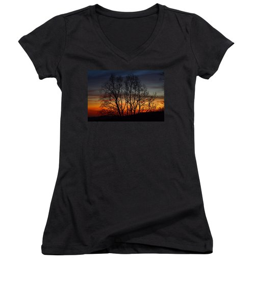 Women's V-Neck T-Shirt (Junior Cut) featuring the photograph Mountain Sunset by Kathryn Meyer