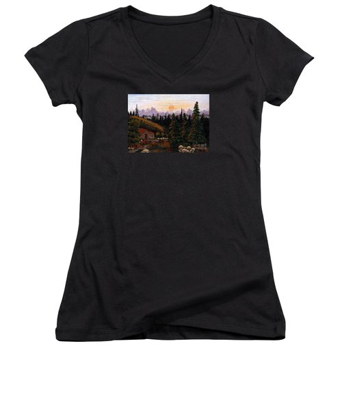 Mountain View Women's V-Neck T-Shirt (Junior Cut) by Barbara Griffin