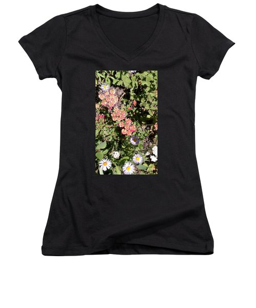 Women's V-Neck T-Shirt (Junior Cut) featuring the photograph Mountain Wildflowers by Fortunate Findings Shirley Dickerson