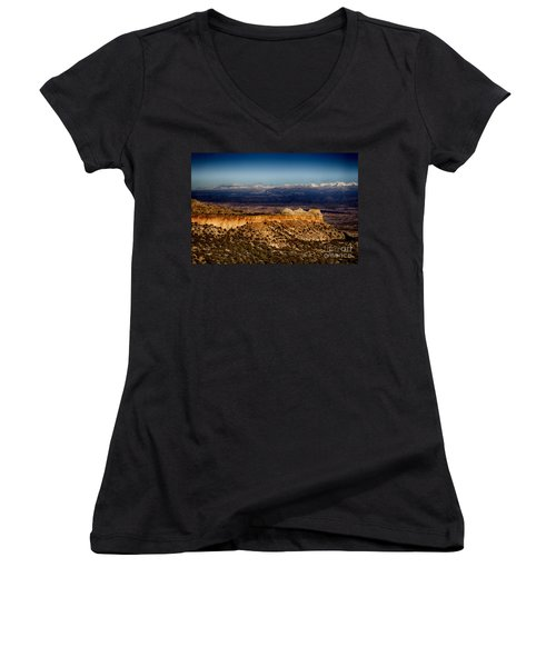 Mountains At Senator Clinton P. Anderson Scenic Route Overlook  Women's V-Neck T-Shirt (Junior Cut)