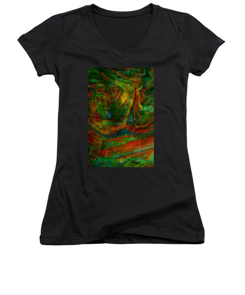 Women's V-Neck T-Shirt (Junior Cut) featuring the mixed media Mountains In The Rain by Ally  White