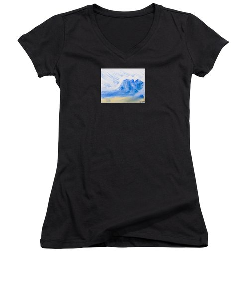 Mountains Tasmania Women's V-Neck T-Shirt (Junior Cut) by Elvira Ingram