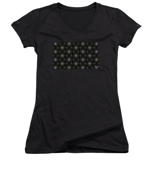 Women's V-Neck T-Shirt (Junior Cut) featuring the digital art Mourning Weave by Elizabeth McTaggart