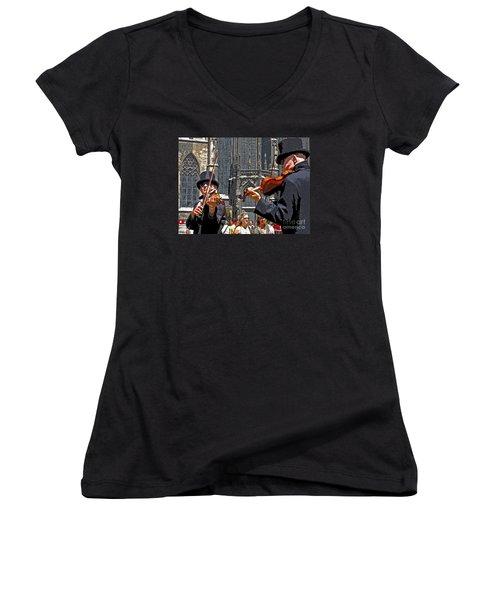 Women's V-Neck T-Shirt (Junior Cut) featuring the photograph Mozart In Masquerade by Ann Horn
