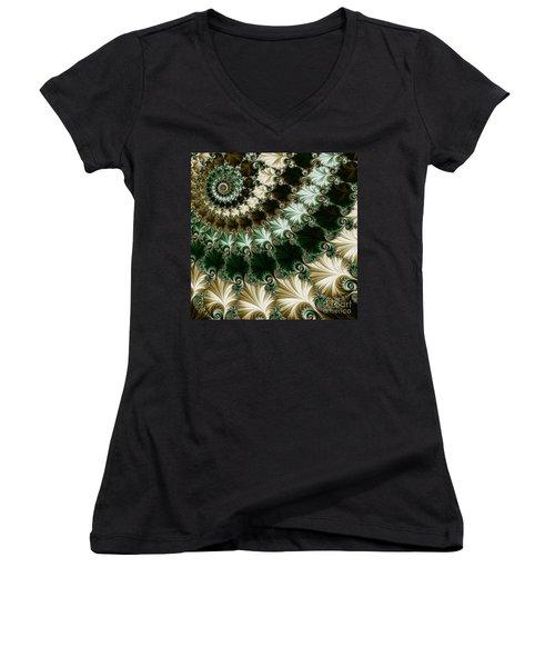 Mozart's Rhythm Women's V-Neck T-Shirt (Junior Cut) by Mary Machare