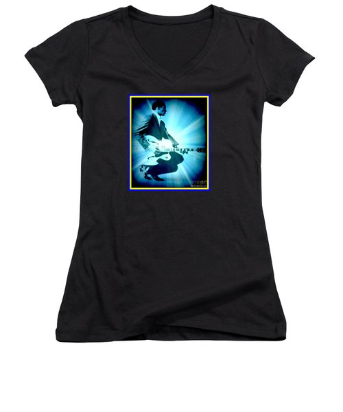 Mr Chuck Berry Blueberry Hill Style Edited Women's V-Neck T-Shirt (Junior Cut) by Kelly Awad