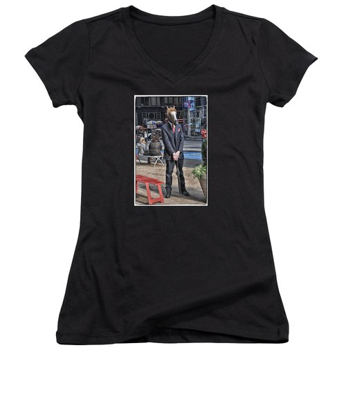 Women's V-Neck T-Shirt (Junior Cut) featuring the photograph Mr. Ed by Mike Martin