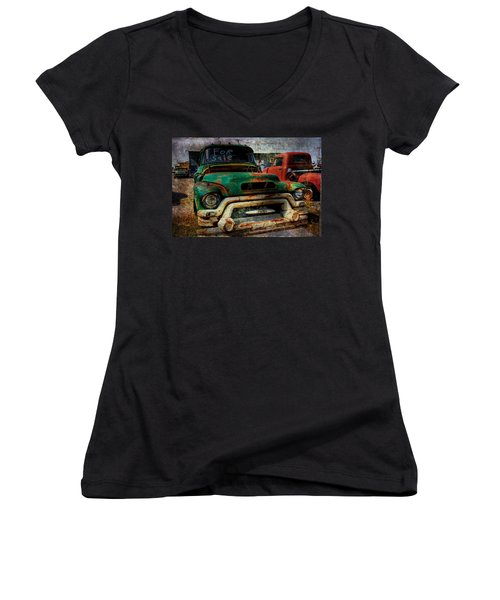 Women's V-Neck T-Shirt (Junior Cut) featuring the photograph Mr Green 4 Sale by Toni Hopper
